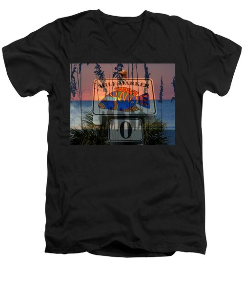 Men's V-Neck T-Shirt featuring the photograph Mile Marker 0 Sunset by David Lee Thompson