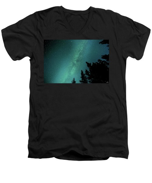 Milky Way Above The Trees Men's V-Neck T-Shirt
