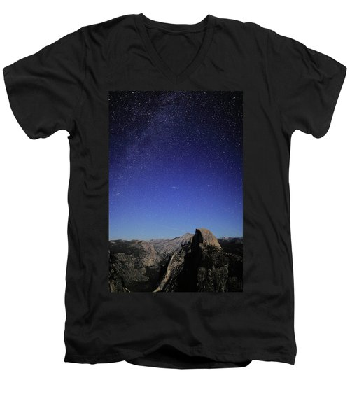 Milky Way Over Half Dome Men's V-Neck T-Shirt