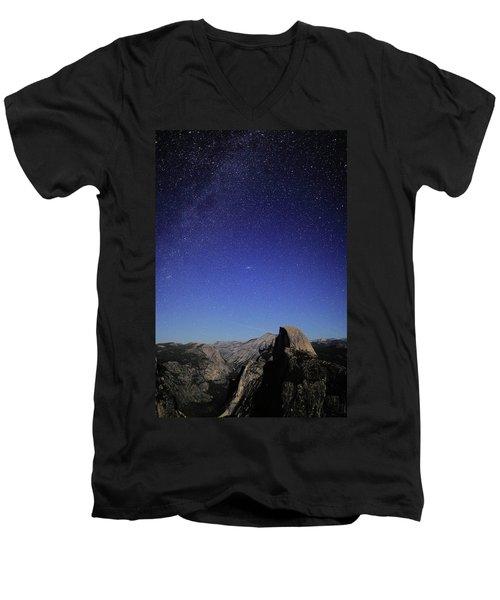 Milky Way Over Half Dome Men's V-Neck T-Shirt by Rick Berk