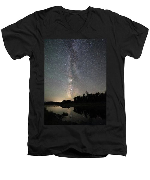 Milky Way Over Schwabacher's Landing Men's V-Neck T-Shirt