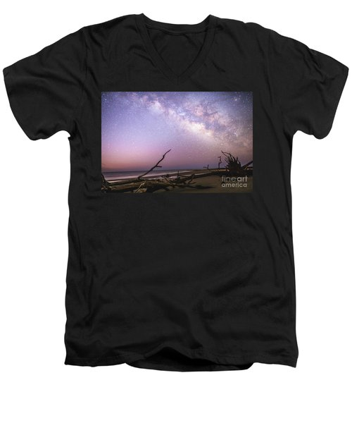 Milky Way Roots Men's V-Neck T-Shirt by Robert Loe