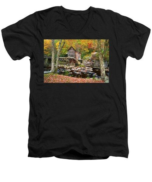 Mill At Babcock State Park Men's V-Neck T-Shirt