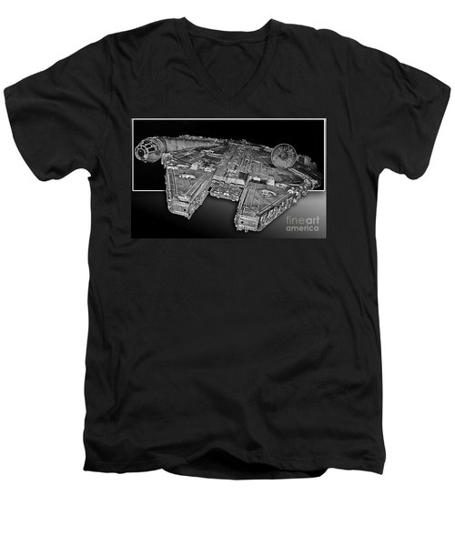 Millennium Falcon Attack Men's V-Neck T-Shirt by Kevin Fortier