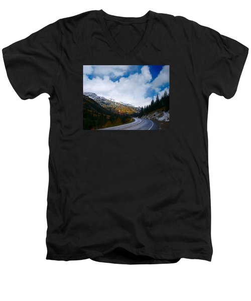 Men's V-Neck T-Shirt featuring the photograph Million Dollar Highway by Laura Ragland
