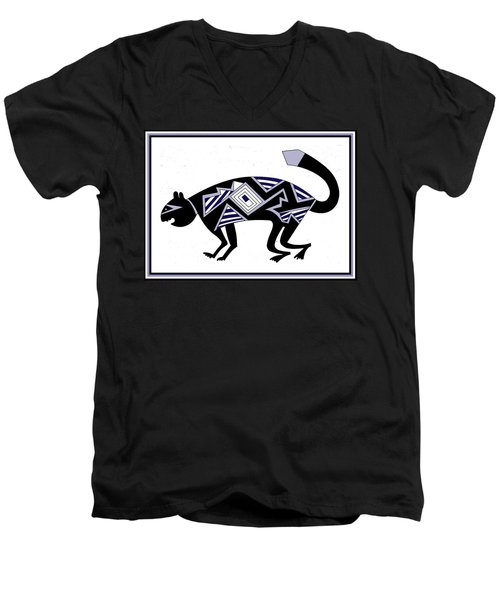 Men's V-Neck T-Shirt featuring the digital art Mimbres Mountain Lion by Vagabond Folk Art - Virginia Vivier