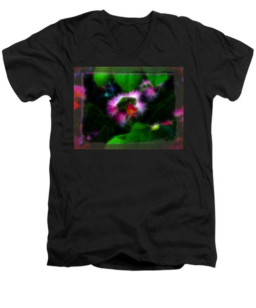 Men's V-Neck T-Shirt featuring the photograph Mimosa Flower by EricaMaxine  Price