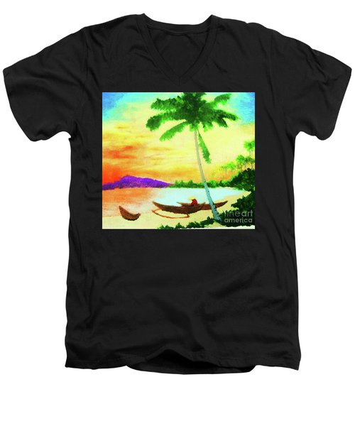 Men's V-Neck T-Shirt featuring the painting Mindanao Sunset by Roberto Prusso
