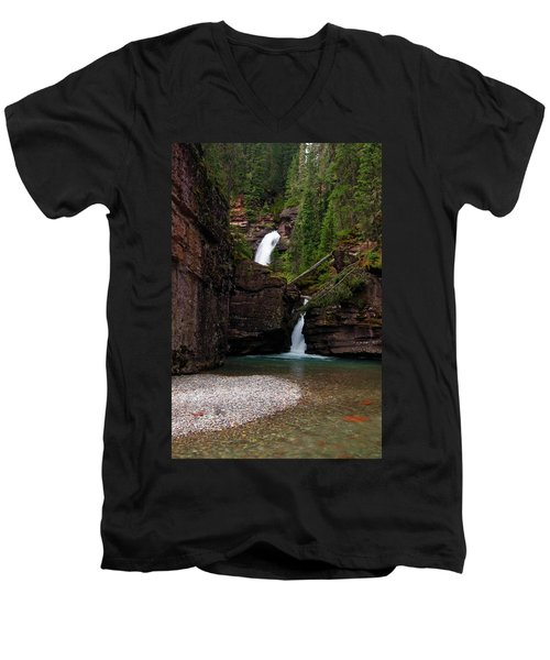 Men's V-Neck T-Shirt featuring the photograph Mineral Creek Falls by Steve Stuller