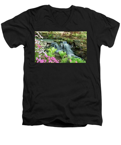 Mini Waterfall Men's V-Neck T-Shirt by Sandy Keeton