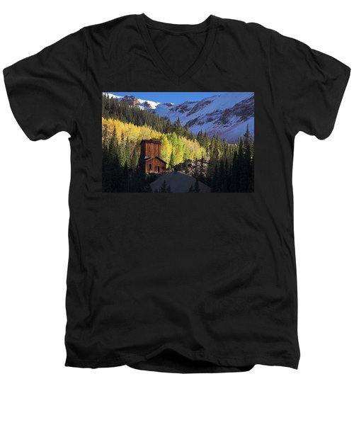 Men's V-Neck T-Shirt featuring the photograph Mining Ruins by Steve Stuller
