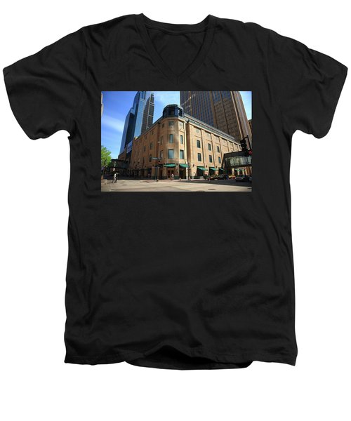 Men's V-Neck T-Shirt featuring the photograph Minneapolis Downtown by Frank Romeo