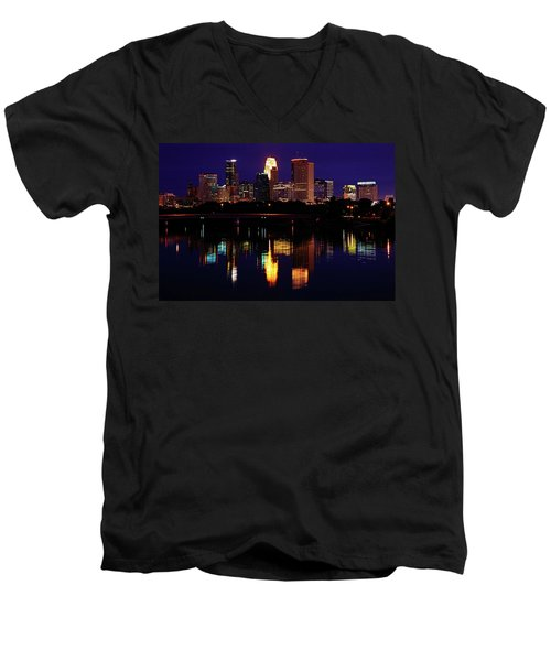 Minneapolis Twilight Men's V-Neck T-Shirt by Rick Berk