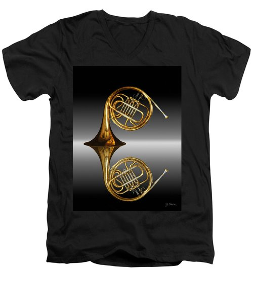 Men's V-Neck T-Shirt featuring the photograph Mirrored Horn by Joe Bonita