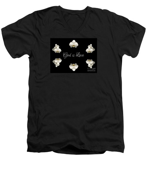 Men's V-Neck T-Shirt featuring the photograph Mirrored Orchids Framing God Is Love by Rose Santuci-Sofranko