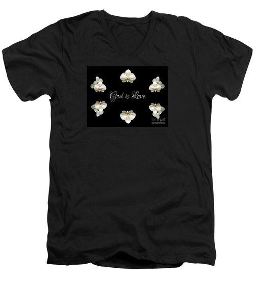 Mirrored Orchids Framing God Is Love Men's V-Neck T-Shirt by Rose Santuci-Sofranko
