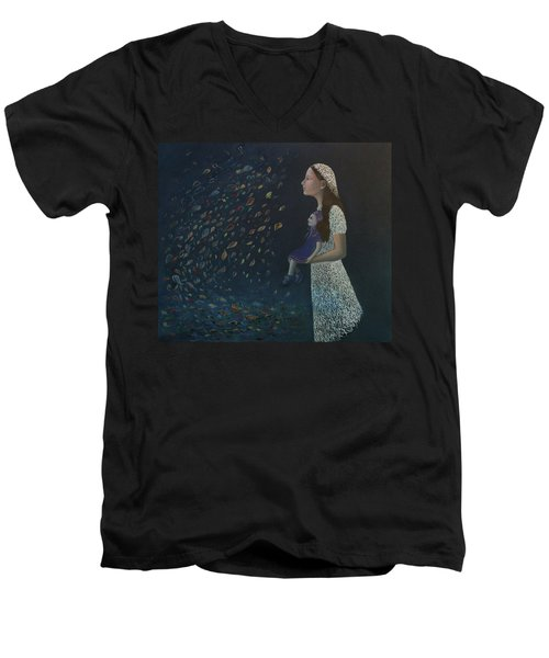 Men's V-Neck T-Shirt featuring the painting Miss Frost Watching The Autumn Dance by Tone Aanderaa