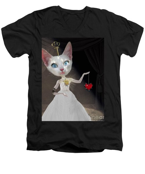 Miss Kitty Men's V-Neck T-Shirt by Juli Scalzi