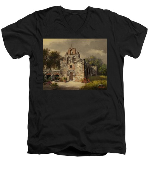 Men's V-Neck T-Shirt featuring the painting Mission Espada by Kyle Wood