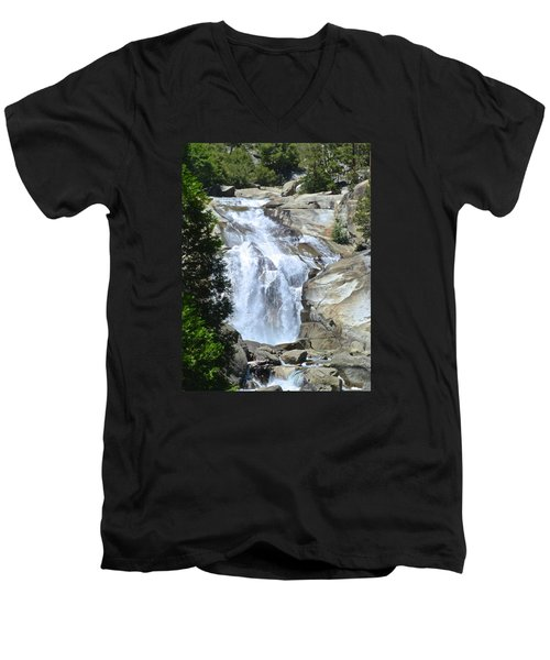 Mist Falls Men's V-Neck T-Shirt by Amelia Racca