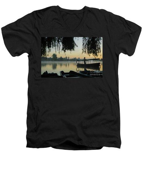 Mist Lake Silhouette Men's V-Neck T-Shirt