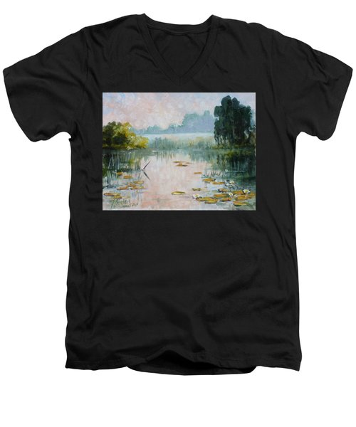 Mist Over Water Lilies Pond Men's V-Neck T-Shirt