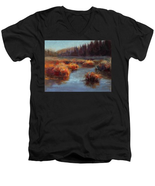 Men's V-Neck T-Shirt featuring the painting Misty Autumn Meadow With Creek And Grass - Landscape Painting From Alaska by Karen Whitworth