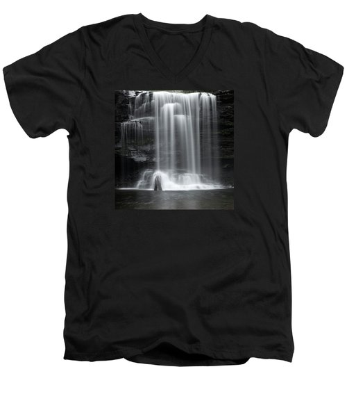 Misty Canyon Waterfall Men's V-Neck T-Shirt by John Stephens