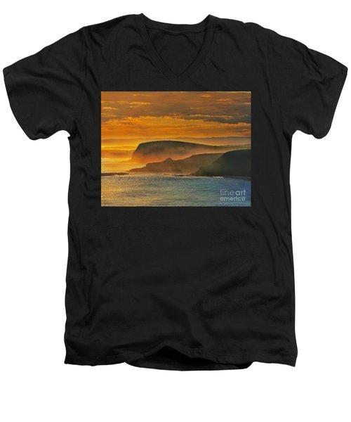 Misty Island Sunset Men's V-Neck T-Shirt