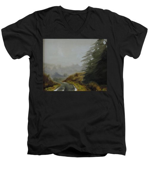 Men's V-Neck T-Shirt featuring the painting Misty Morning, Benevenagh by Barry Williamson