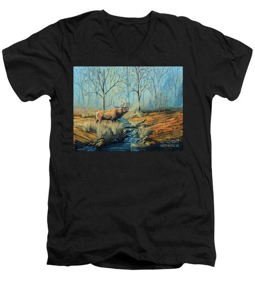 Misty Morning Bugler Men's V-Neck T-Shirt