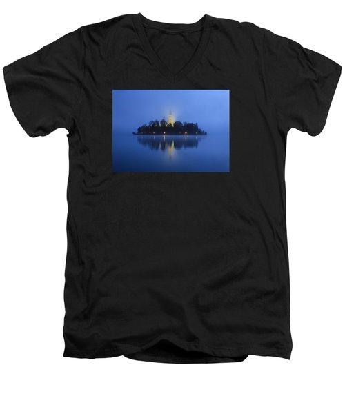 Misty Morning Lake Bled Slovenia Men's V-Neck T-Shirt
