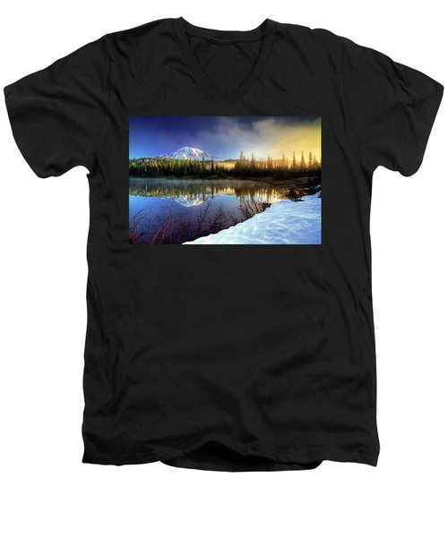 Misty Morning Lake Men's V-Neck T-Shirt by William Lee