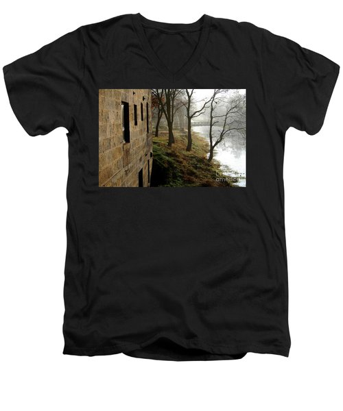 Misty Morning On The Illinois Michigan Canal  Men's V-Neck T-Shirt