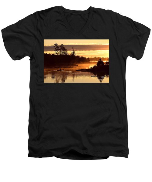 Men's V-Neck T-Shirt featuring the photograph Misty Morning Paddle by Larry Ricker