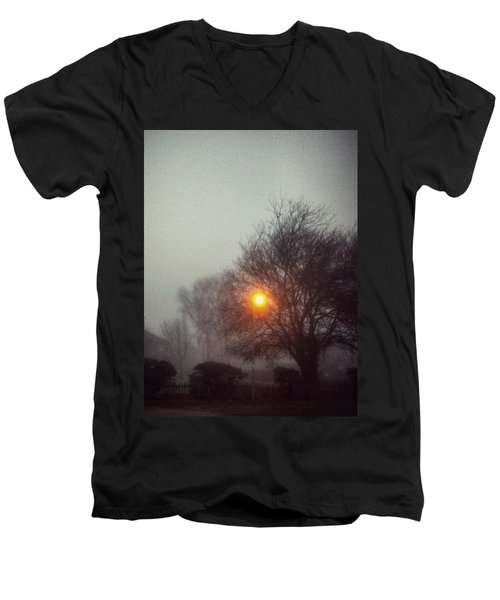 Men's V-Neck T-Shirt featuring the photograph Misty Morning by Persephone Artworks