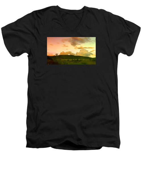 Men's V-Neck T-Shirt featuring the photograph Misty Morning Sunrise by Mike Breau
