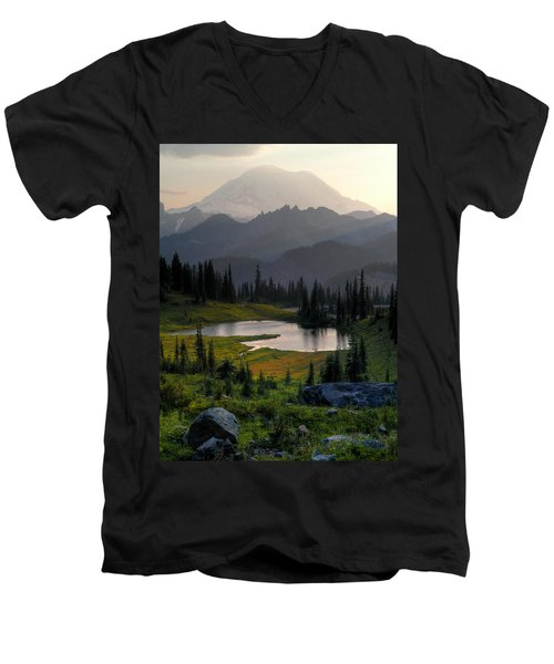 Men's V-Neck T-Shirt featuring the photograph Misty Rainier At Sunset by Peter Mooyman