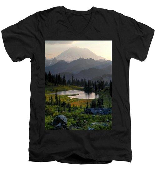 Misty Rainier At Sunset Men's V-Neck T-Shirt by Peter Mooyman