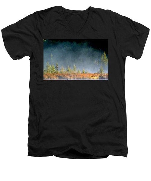 Misty Sunrise At Costello Creek Men's V-Neck T-Shirt