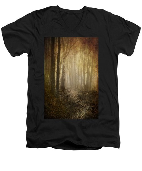 Misty Woodland Path Men's V-Neck T-Shirt