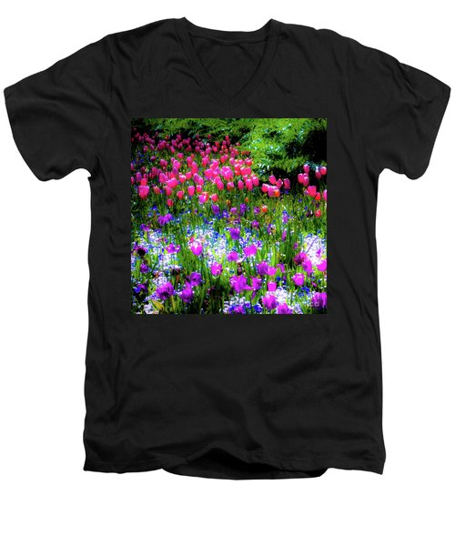 Mixed Flowers And Tulips Men's V-Neck T-Shirt