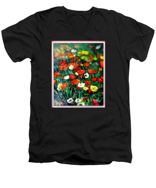 Men's V-Neck T-Shirt featuring the painting Mixed Puppies  by Laila Awad Jamaleldin
