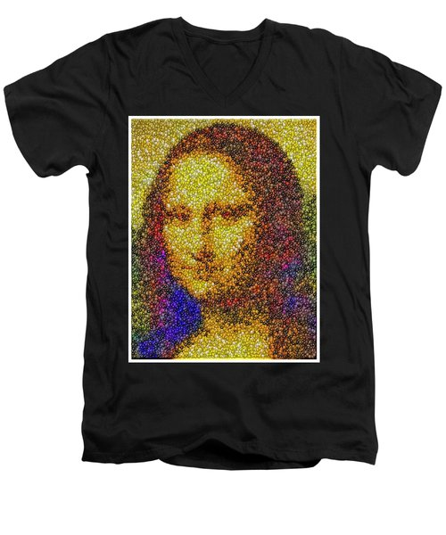 Men's V-Neck T-Shirt featuring the mixed media Mm Candies Mona Lisa by Paul Van Scott
