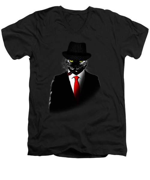 Mobster Cat Men's V-Neck T-Shirt by Nicklas Gustafsson
