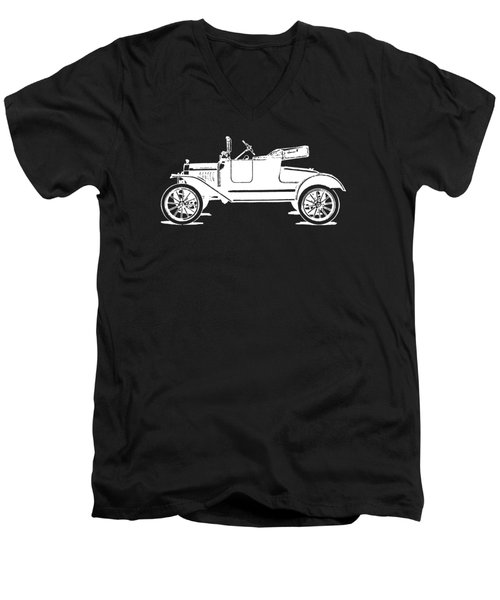 Model T Roadster Pop Art White Men's V-Neck T-Shirt