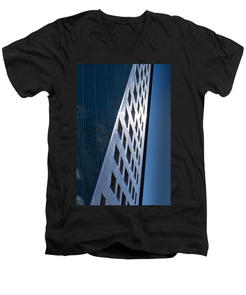 Men's V-Neck T-Shirt featuring the photograph Blue Modern Apartment Building by John Williams