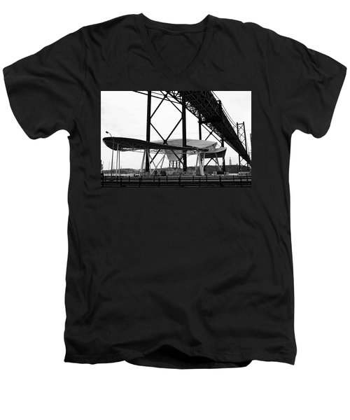 Modern Mass Transit Men's V-Neck T-Shirt by Lorraine Devon Wilke