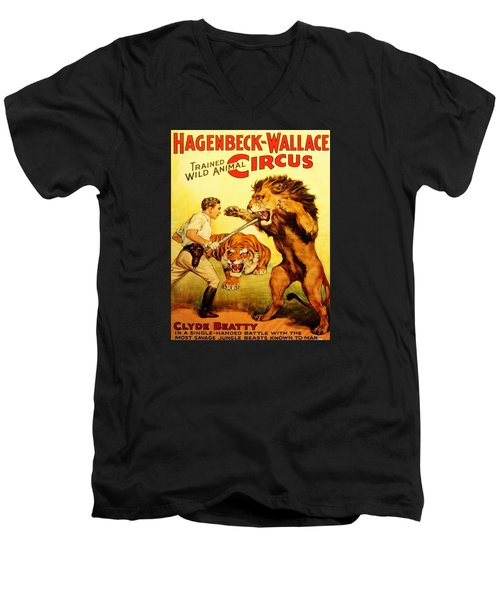 Men's V-Neck T-Shirt featuring the digital art Modern Vintage Circus Poster by ReInVintaged