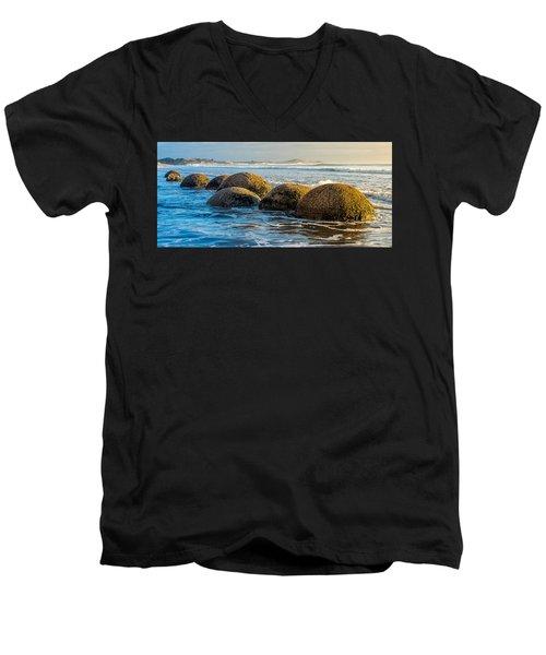 Moeraki Boulders Men's V-Neck T-Shirt by Martin Capek